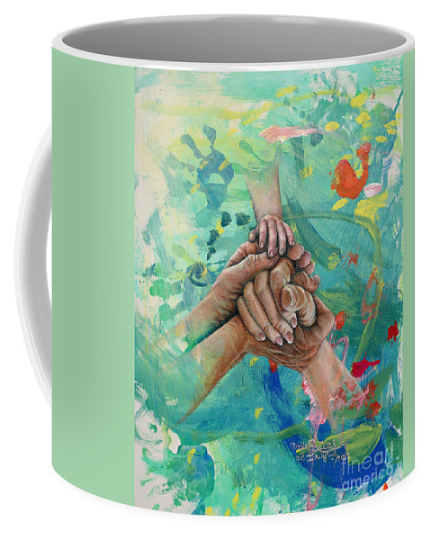 Mother Daughter Art Coffee Mug featuring the painting Mamma's Hands by Angie Sellars