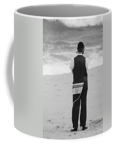 Black And White Coffee Mug featuring the photograph Man And The Sea by Rob Hans