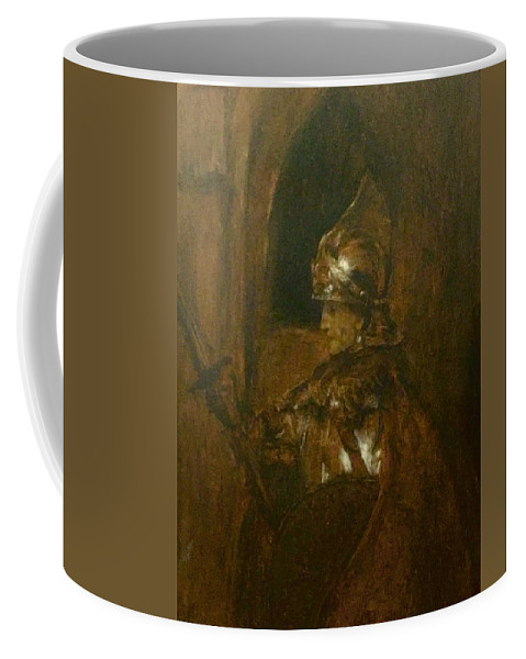 Rembrandt Coffee Mug featuring the painting Man In Armor by Jerry Bridges