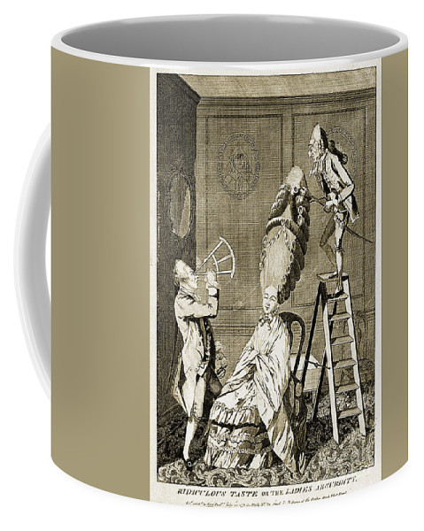 Historic Coffee Mug featuring the photograph Man Using Sextant On Womans Coiffure by Wellcome Images