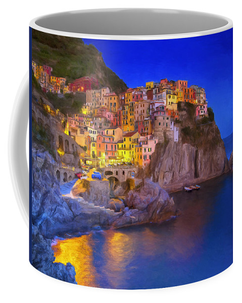 Monterosso Al Mare Coffee Mug featuring the painting Manarola By Moonlight by Dominic Piperata