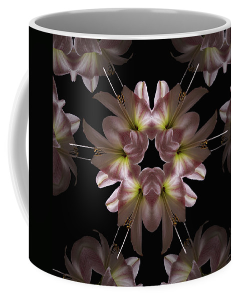Mandala Coffee Mug featuring the digital art Mandala Amarylis by Nancy Griswold