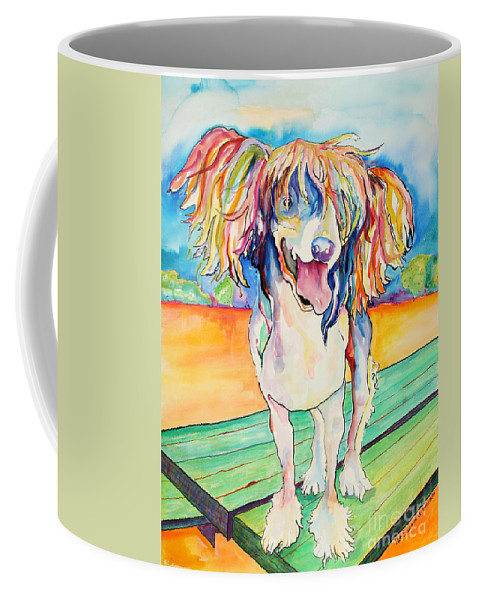 Chinese Crested Coffee Mug featuring the painting Mango Salsa by Pat Saunders-White