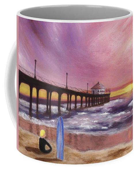 Manhattan Beach Coffee Mug featuring the painting Manhattan Beach Pier by Jamie Frier
