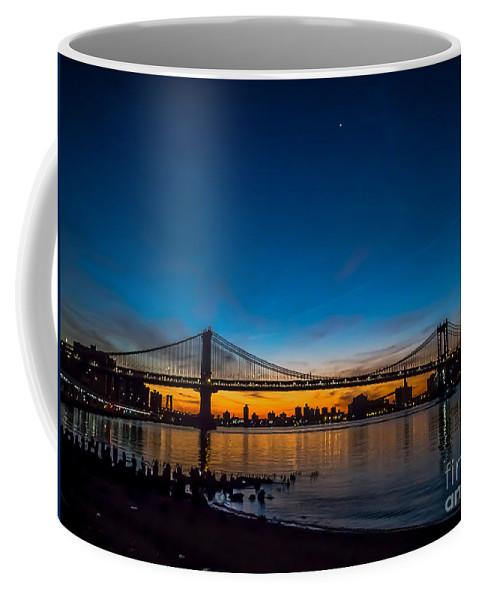 Manhattan Bridge Coffee Mug featuring the photograph Manhattan Bridge At Dawn by James Aiken
