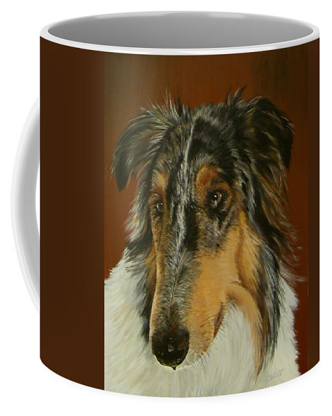 Painting Coffee Mug featuring the painting Man's Best Friend by Sheryl Gallant
