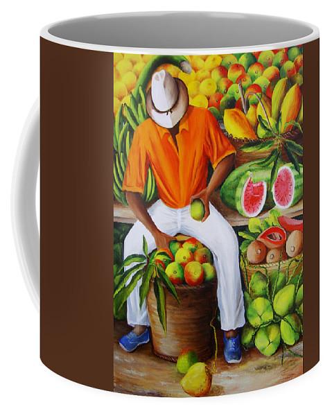 Caribbean Coffee Mug featuring the painting Manuel The Caribbean Fruit Vendor by Dominica Alcantara
