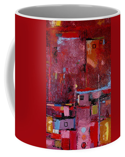 Abstract Coffee Mug featuring the painting Many Mansions by Ruth Palmer