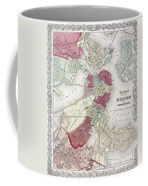1865 Coffee Mug featuring the photograph Map: Boston, 1865 by Granger
