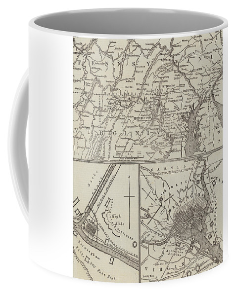 Lee Coffee Mug featuring the drawing Map Illustrating General Lee's Advance Into Pennsylvania by John Dower