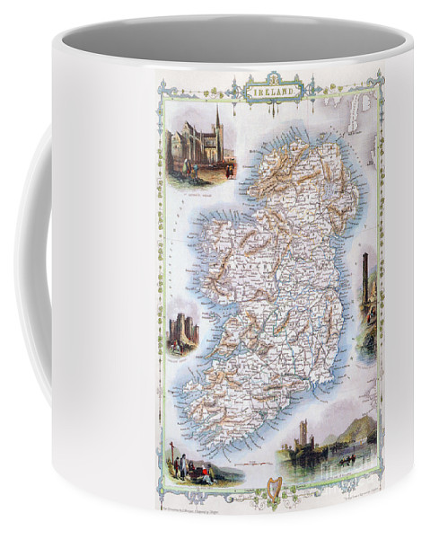 1851 Coffee Mug featuring the photograph Map: Ireland, 1851 by Granger