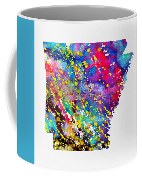 Map Of Arkansas Coffee Mug featuring the digital art Map Of Arkansas-colorful by Erzebet S