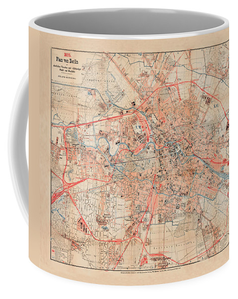 Map Of Berlin Coffee Mug featuring the photograph Map Of Berlin 1895 by Andrew Fare