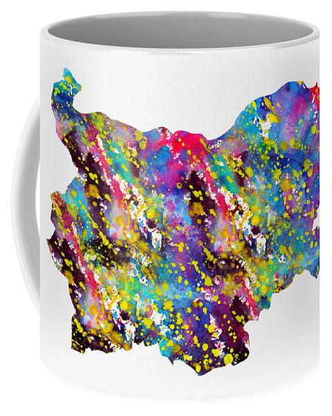 Bulgaria Coffee Mug featuring the digital art Map Of Bulgaria-colorful by Erzebet S