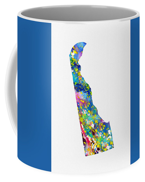 Delaware Coffee Mug featuring the digital art Map Of Delaware-colorful by Erzebet S