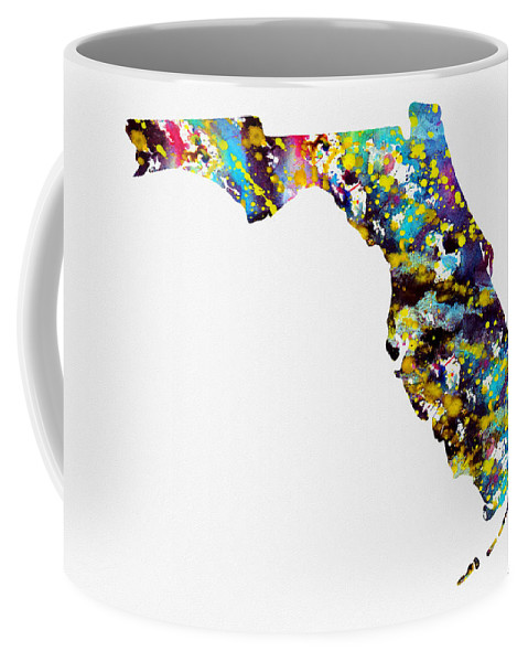 Florida Map Coffee Mug featuring the digital art Map Of Florida-colorful by Erzebet S