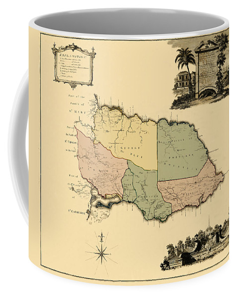 Map Of Jamaica Coffee Mug featuring the photograph Map Of Jamaica 1763 by Andrew Fare
