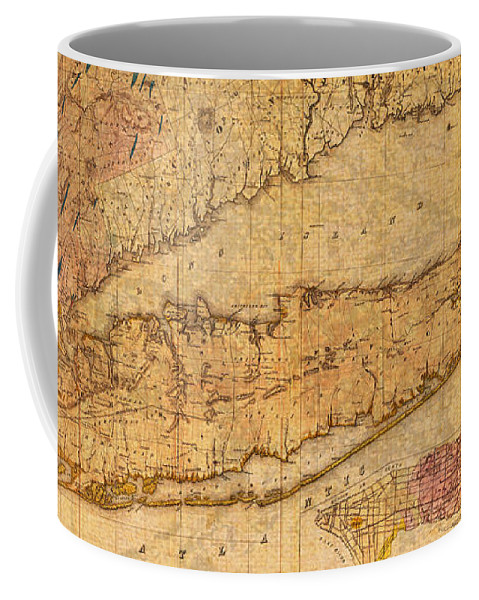 Map Coffee Mug featuring the mixed media Map Of Long Island New York State In 1842 On Worn Distressed Canvas by Design Turnpike
