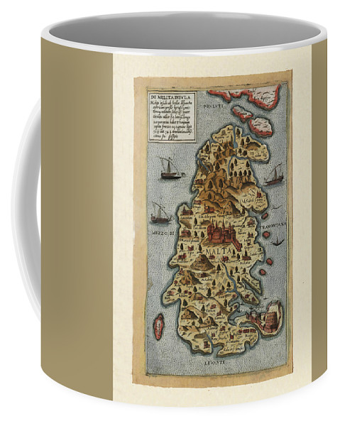 Map Of Malta Coffee Mug featuring the photograph Map Of Malta 1565 by Andrew Fare