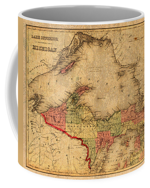 Map Coffee Mug featuring the mixed media Map Of Michigan Upper Peninsula And Lake Superior Vintage Circa 1873 On Worn Distressed Canvas by Design Turnpike