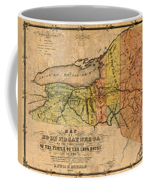 Map Coffee Mug featuring the mixed media Map Of New York State Showing Original Indian Tribe Iroquois Landmarks And Territories Circa 1720 by Design Turnpike