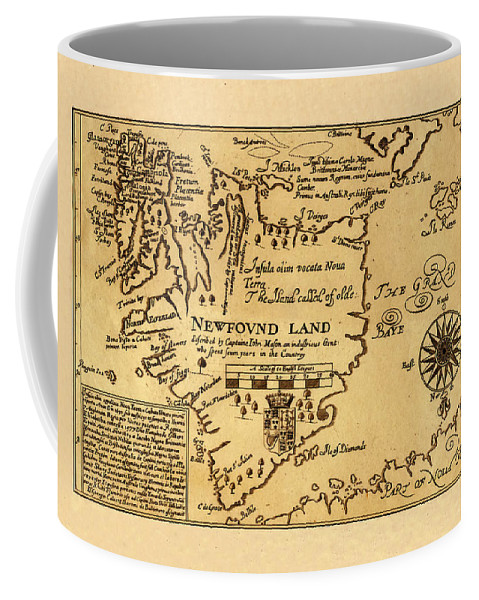 Map Of Newfoundland Coffee Mug featuring the photograph Map Of Newfoundland 1625 by Andrew Fare