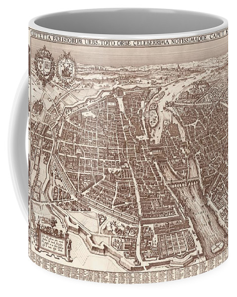Map Coffee Mug featuring the drawing Map Of Paris 1618 by Mountain Dreams