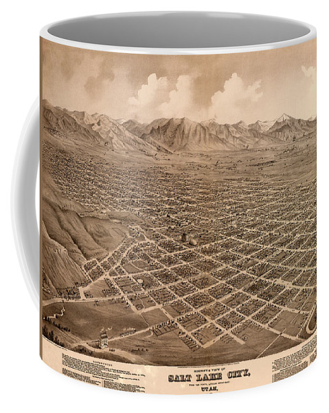 Salt Lake City Coffee Mug featuring the photograph Map Of Salt Lake City 1875 by Andrew Fare