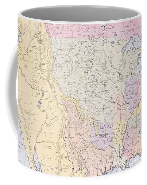 Map Coffee Mug featuring the painting Map Showing The Localities Of The Indian Tribes Of The Us In 1833 by Thomas L McKenney and James Hall