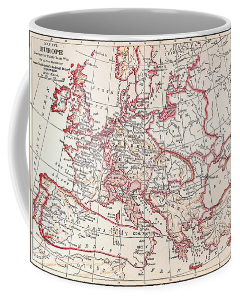 Engraving Coffee Mug featuring the photograph Map: Thirty Years War by Granger