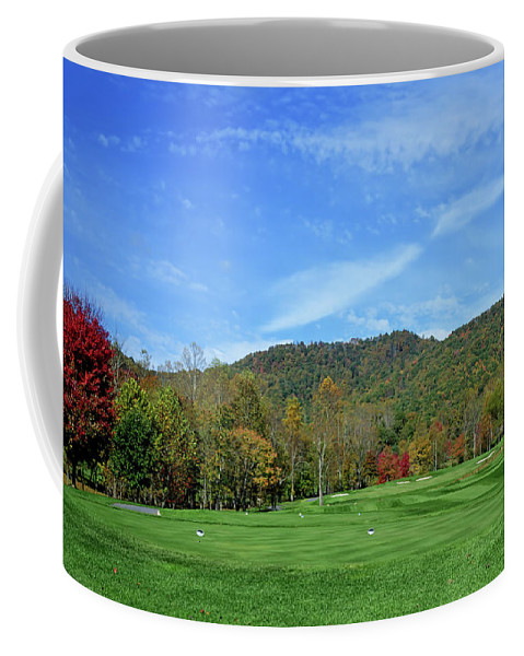 Golf Coffee Mug featuring the photograph Maple Red by Claire Turner