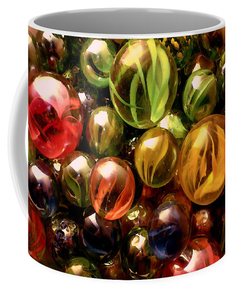Marbles Abstract Coffee Mug featuring the digital art Marble Madness by P Donovan