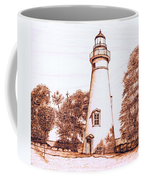 Lighthouse Coffee Mug featuring the pyrography Marblehead Lighthouse by Danette Smith