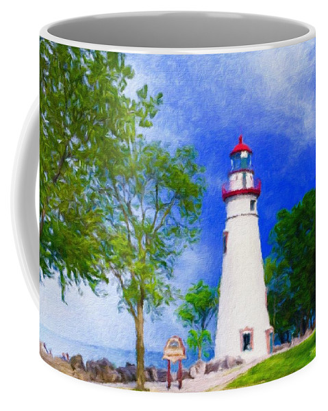 Michigan Marblehead Lighthouse Great Lakes Lake Erie Sandusky Bay Kelleys Island South Bass Island Beacon Light Guide Safety Midwest Port Clinton Coffee Mug featuring the photograph Marblehead Lighthouse by Diane Lindon Coy