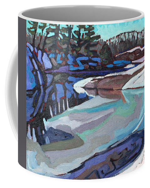 Jim Coffee Mug featuring the painting March Ice by Phil Chadwick