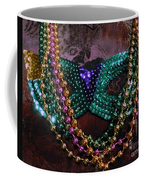 Mardi Gras Coffee Mug featuring the photograph Mardi Gras Feminine Mystique by Barbie Corbett-Newmin