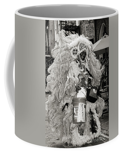 New Orleans Coffee Mug featuring the photograph Mardi Gras Indian In Pirates Alley In Black And White by Kathleen K Parker