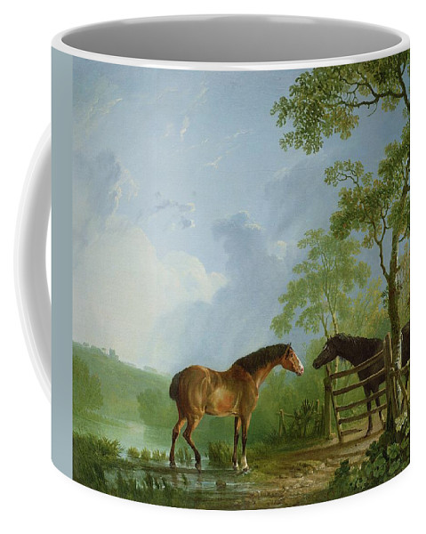 Mare Coffee Mug featuring the painting Mare And Stallion In A Landscape by Sawrey Gilpin