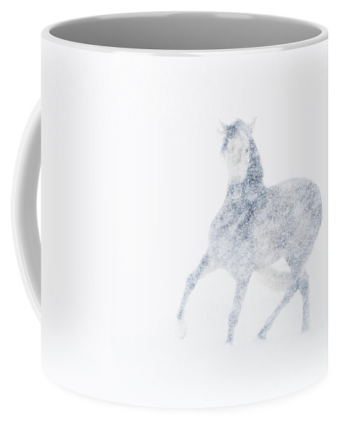 Mare Coffee Mug featuring the photograph Mare In A Blizzard I by Carol Walker