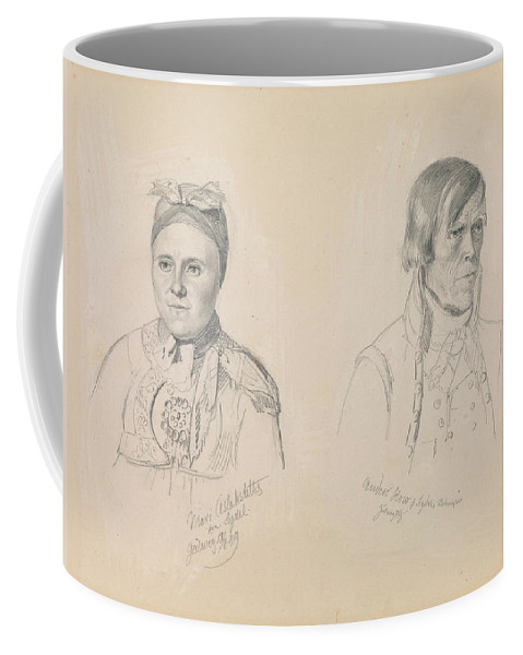Norwegian Art Coffee Mug featuring the drawing Mari Aslaksdatter And Anders How From Sigdal by Adolph Tidemand