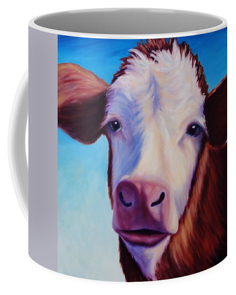 Cow Coffee Mug featuring the painting Marie by Shannon Grissom