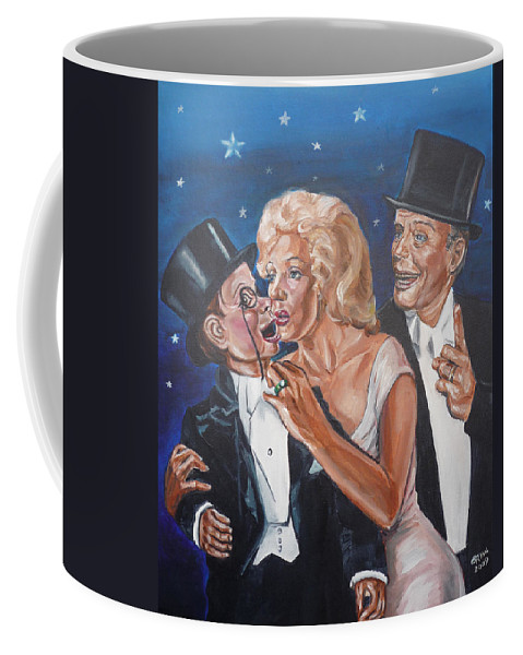 Old Time Radio Coffee Mug featuring the painting Marilyn Monroe marries Charlie McCarthy by Bryan Bustard