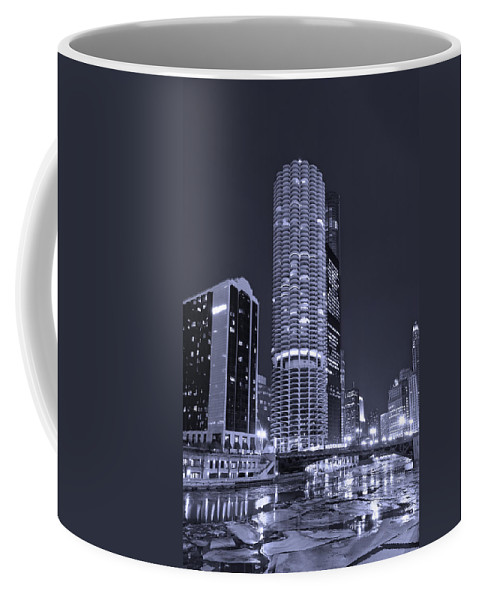Marina City Coffee Mug featuring the photograph Marina City On The Chicago River In B And W by Steve Gadomski