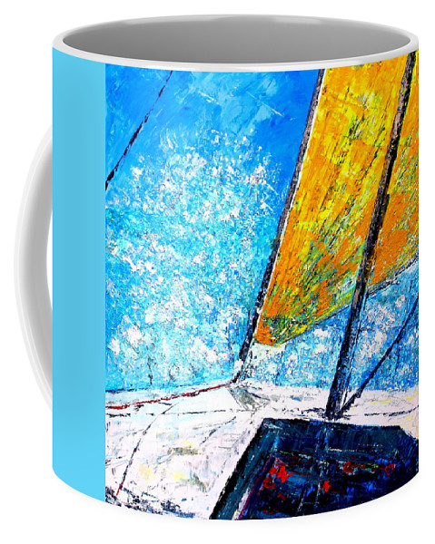 Race Sailing Yellow And Blue Sailing Coffee Mug featuring the painting Marine Venture I by Paul Best