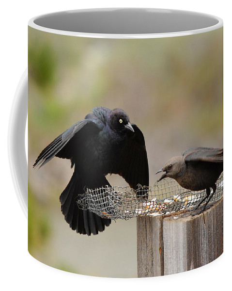 Black Birds Coffee Mug featuring the photograph Marital Bliss by Donna Blackhall