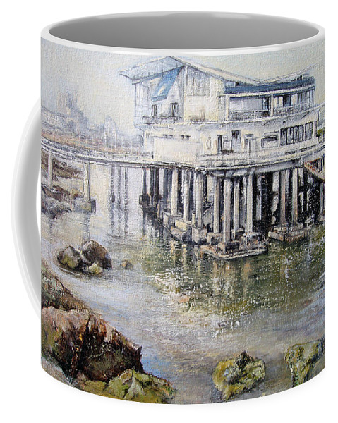 Maritim Coffee Mug featuring the painting Maritim Club Castro Urdiales by Tomas Castano