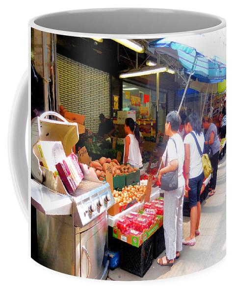 Market At Bensonhurst Brooklyn Ny Coffee Mug featuring the painting Market At Bensonhurst Brooklyn Ny 1 by Jeelan Clark