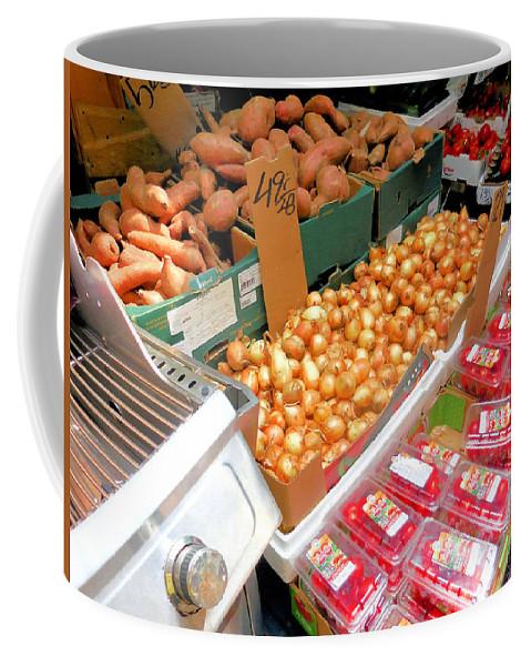 Market At Bensonhurst Brooklyn Ny Coffee Mug featuring the painting Market At Bensonhurst Brooklyn Ny 4 by Jeelan Clark