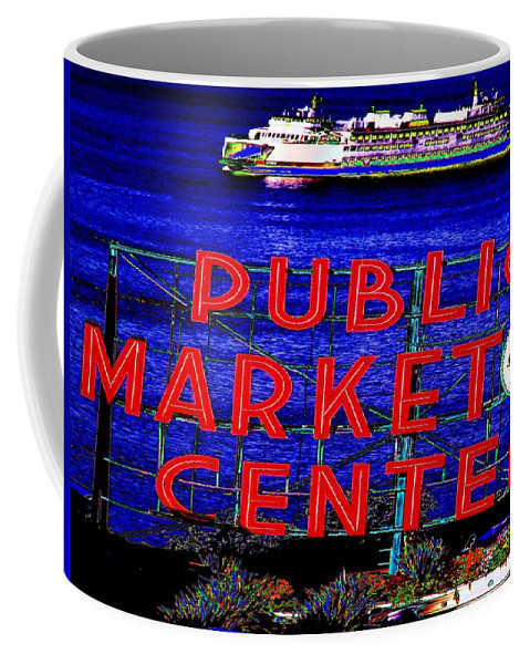 Seattle Coffee Mug featuring the photograph Market Clock And Ferry by Tim Allen