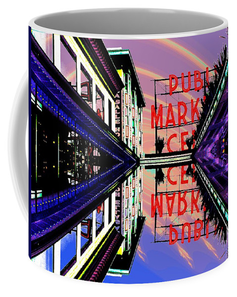 Seattle Coffee Mug featuring the digital art Market Entrance by Tim Allen